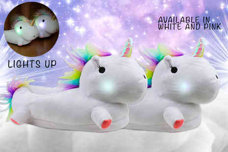 Cheeky Box - Pair of Led lightup unicorn slippers choose from two colours - Save 66%