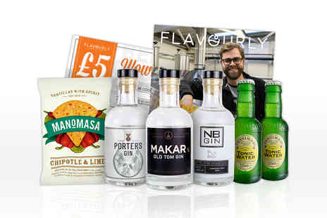 Flavourly - Gin hamper with three bottles of craft gin and mixer, a snack, magazine, £5 voucher to use on Flavourly.com and a Flexible Flavourly Gin Club subscription - Save 43%