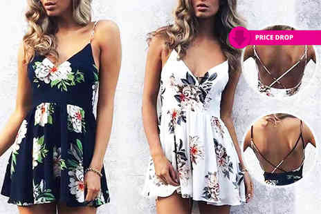 Shapelle - Floral cross back playsuit choose blue or white - Save 71%