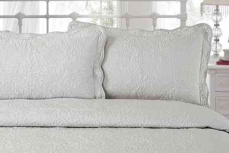 Groupon Goods Global GmbH - Victoria Quilted Bedspread and Pillow Shams in Choice of Colour - Save 60%