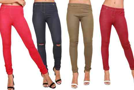 Groupon Goods Global GmbH - Be Jealous Knee Cut Out Denim Leggings - Save 0%