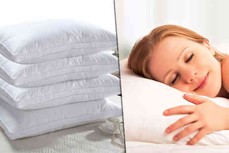 Fusion - Hotel Quality Extra Filled Duck Feather Pillows Choose 2 or 4 - Save 90%