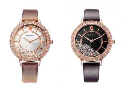 Solo Act - Floating crystal watch choose from two designs - Save 74%