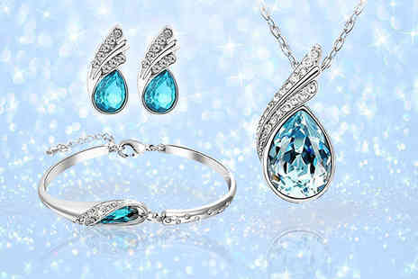 Your Ideal Gift - Blue crystal fairytale tri set made with crystals from Swarovski - Save 81%