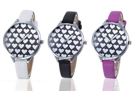 Solo Act - Leather look heart patterned watch - Save 76%