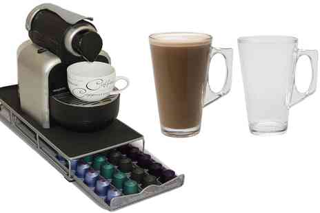 Groupon Goods Global GmbH - 48 Pod Nespresso Compatible Coffee Capsule Stand with Drawer with Optional Four or Six Latte Glasses - Save 30%