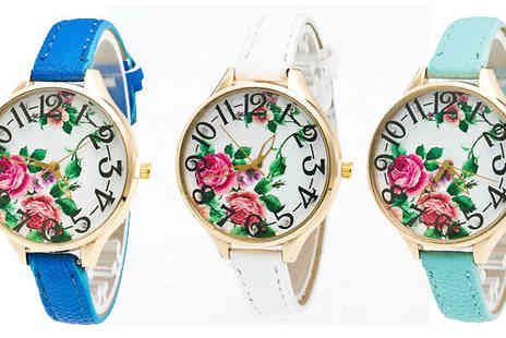 Romatco - Edie Floral Design Watch in 5 Colours - Save 72%
