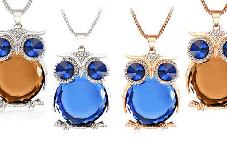 Romatco - Simulated Crystal Owl Necklace in 4 Colours - Save 65%