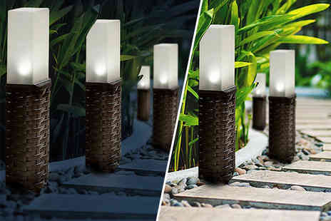 Groundlevel - Set of two rattan solar post lights - Save 75%