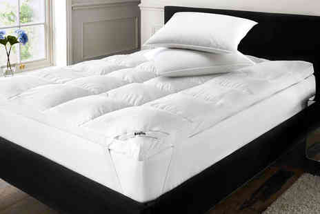 Black Feather - Single goose feather and down mattress topper with two pillows choose from five sizes - Save 75%