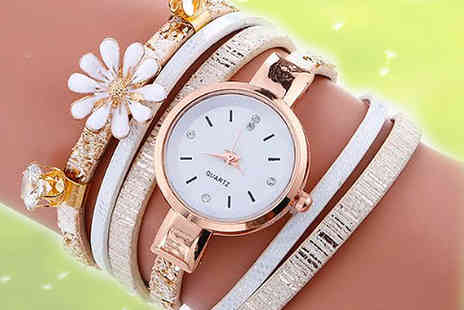 Solo Act - Daisy crystal wrap watch choose from three colours - Save 63%