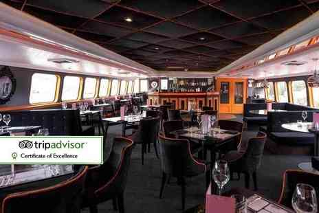 R S Hispaniola -Three course meal with bottomless Prosecco for two aboard the R.S. Hispaniola and a River Red Rover ticket - Save 58%