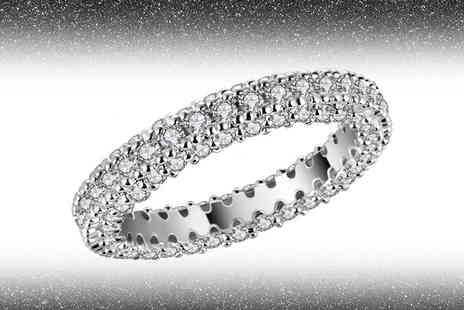Your Ideal Gift - Rhodium plated created sapphire eternity band - Save 76%