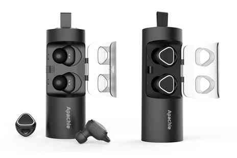 Groupon Goods Global GmbH - Apachie Stereo Dual Wireless Bluetooth Earphones - Save 69%