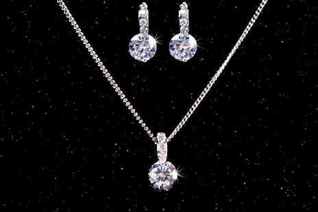 Shop Chainz - Platinum plated bridesmaid necklace and earrings set - Save 82%