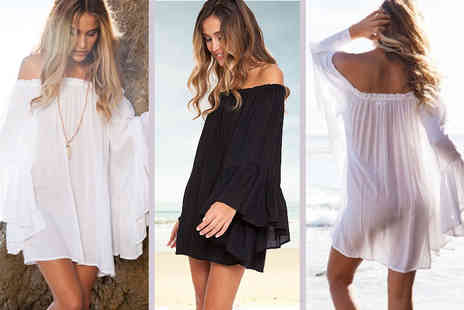 Treats on Trend - Floaty bell sleeved beach dress choose from two colours - Save 69%