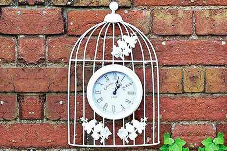 SHS Trading - Vintage style bird cage wall clock - Save 72%
