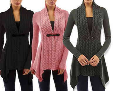 Boni Caro - Asymmetric cable knit cardigan choose from three colours - Save 82%