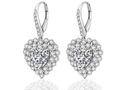 Gem Nation - Heart Drop Earrings With Swarovski Crystals - Save 88%