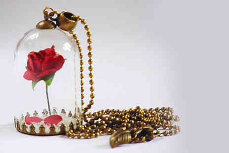 Solo Act - Beauty and the Beast inspired enchanted rose necklace - Save 79%