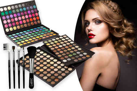 Jazooli - 120 colour eyeshadow palette and five piece brush set - Save 81%