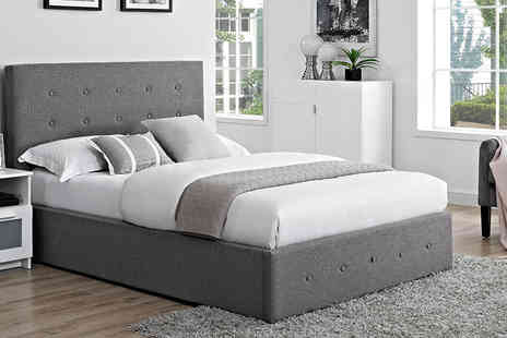 FTA Furnishing - Linen fabric buttoned bed, or upgrade to include a mattress - Save 66%
