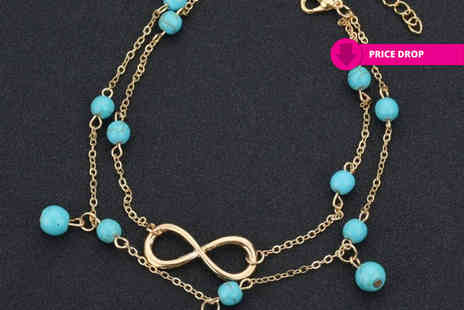 Your Ideal Gift - Infinity turquoise bead anklet - Save 86%