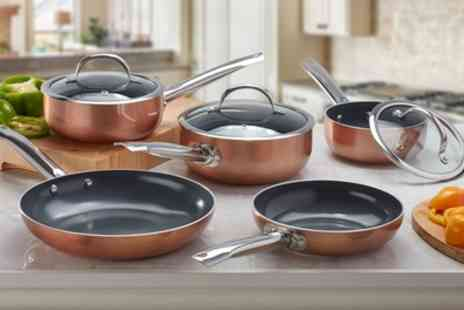 Groupon Goods Global GmbH - Cooks Professional Two, Three or Five Piece Copper-Ceramic Pan Set - Save 63%