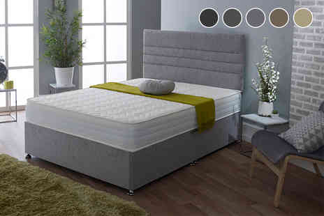 Sleep Express - Single chenille divan bed with chunky headboard choose from five colours, upgrade to include a mattress and two or four drawers - Save 77%