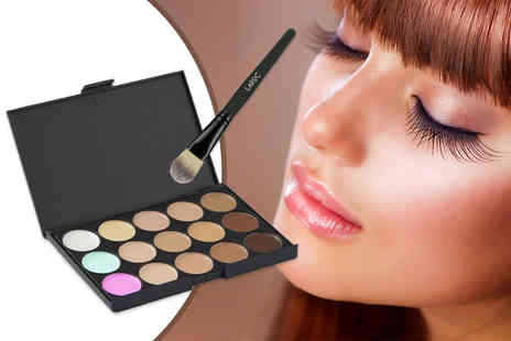 Jazooli - LaRoc 15 shade concealer contour makeup palette and soft foundation brush, or two palettes - Save 78%