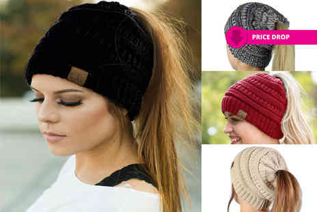Black Feather - Ponytail beanie hat - Save 87%