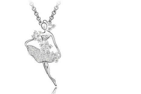 Evoked Design - White gold plated ballerina necklace choose from two colours - Save 86%