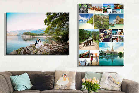 Discount Photo Prints - Pair of personalised A2 canvas prints - Save 92%