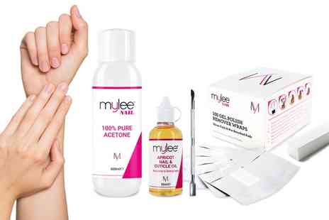 Groupon Goods Global GmbH - Mylee Pure Acetone Nail Polish Remover 600ml or Five Piece Gel Removal Kit - Save 70%