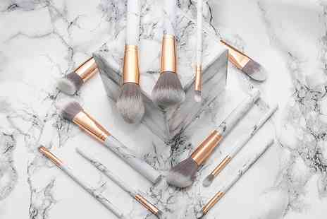 Groupon Goods Global GmbH - Ten Piece Marble Effect Makeup Brush Set - Save 66%
