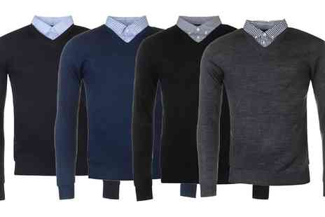 Groupon Goods Global GmbH - Pierre Cardin Mock V Neck Long Sleeve Jumper - Save 0%