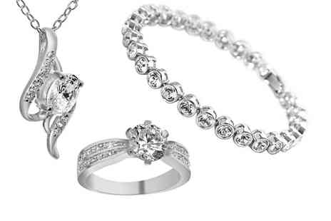 GameChanger Associates - Clear crystal cubic zirconia jewellery set - Save 93%