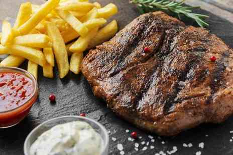 Ingram Wynd - 8oz sirloin steak dinner with chips or mashed potato for two plus a glass of house wine or bottle of beer each - Save 52%