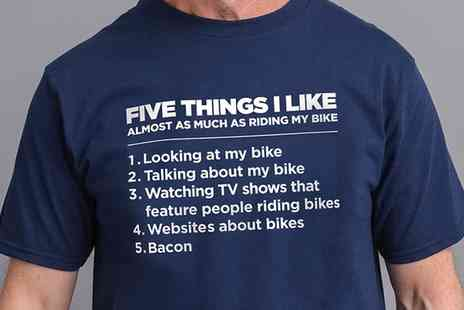 Groupon Goods Global GmbH - Five Things I Like as Much as Riding My Bike Mens Tshirt - Save 71%