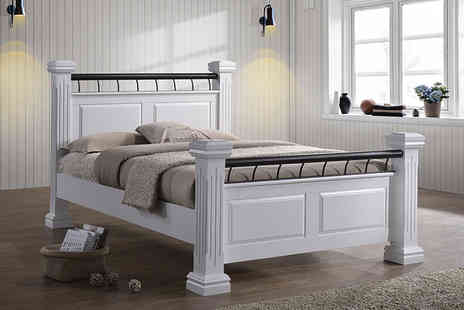 Majestic Furnishings - Chunky wooden rolo double or king size bed - Save 55%