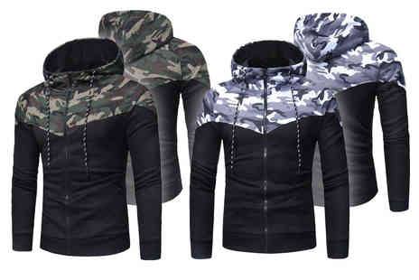 Blu Apparel - Mens camo zip hoodie choose from two colours and four sizes - Save 0%