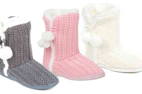 Groupon Goods Global GmbH - Womens Faux Fur Lined Boot Slippers - Save 0%