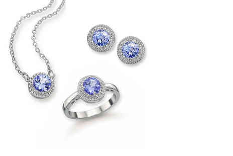 Lily Spencer London - Pair of tanzanite blue crystal earrings, pendant or ring - Save 68%