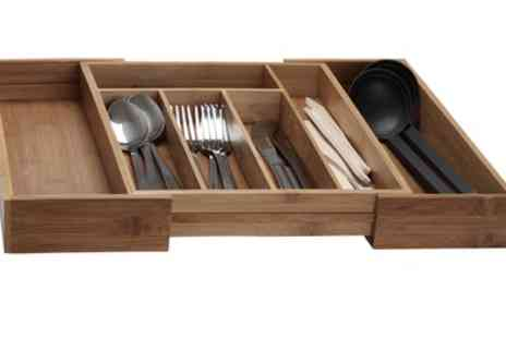 Groupon Goods Global GmbH - Regular or Extra Large Extendable Bamboo Cutlery Box - Save 20%