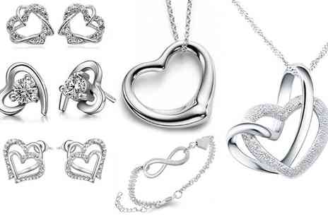 Groupon Goods Global GmbH - Heart Shaped Earrings, Necklaces or Bracelet - Save 75%