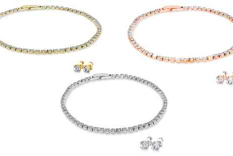 Groupon Goods Global GmbH - One or Two Tennis Bracelet and Earrings Sets in Choice of Colour - Save 90%
