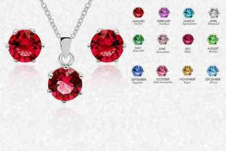 Lily Spencer London - Crystal birthstone earrings and pendant set choose from 12 colours - Save 69%
