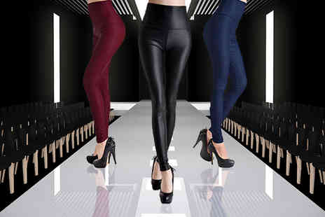Ckent - Pair of ladies leather look matte finish leggings choose from navy, black or plum - Save 63%