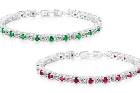 Groupon Goods Global GmbH - Philip Jones Simulated Emerald, Ruby or Two Pack of Both Bracelets - Save 84%