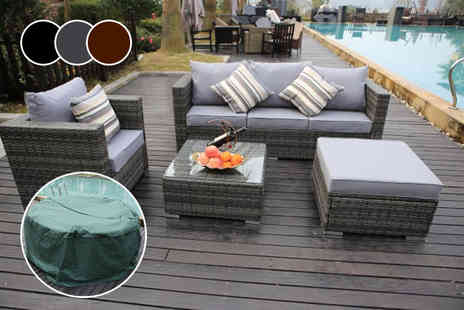 Dreams Living - Monaco five seater rattan sofa set or set with a protective rain cover choose from three colours - Save 71%